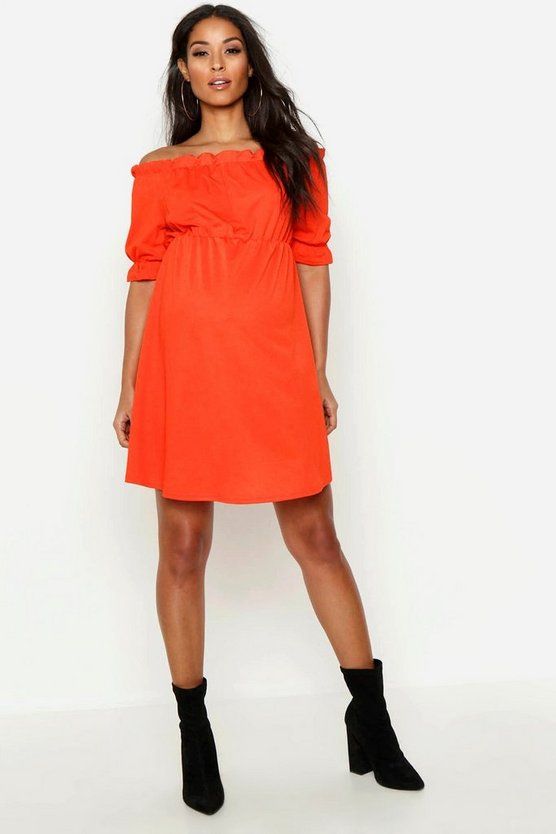 Womens Orange Maternity Bardot Ruffle Smock Dress