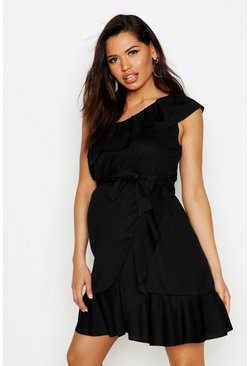 Womens Black Maternity One Shoulder Frill Detail Dress