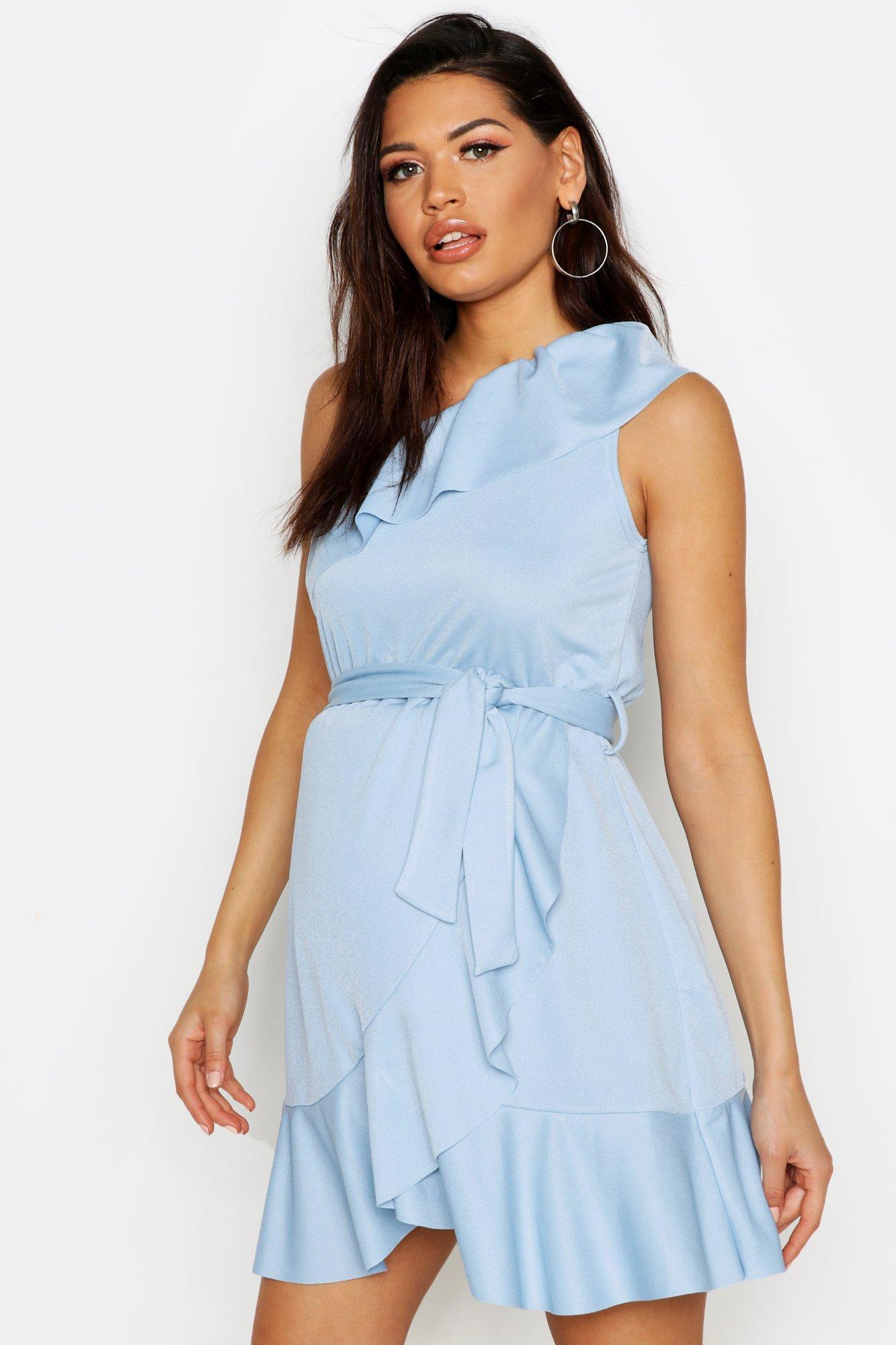 Купить со скидкой Платье с оборками и открытым плечом для беременных
