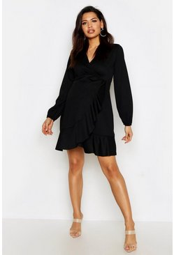 Womens Black Maternity Frill Detail Wrap Dress