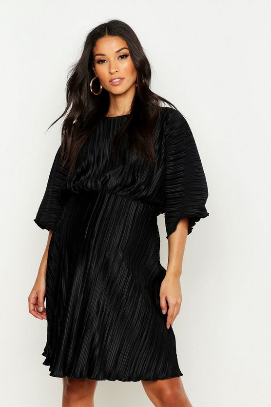 Black Maternity Pleated Wiggle Lettuce Hem Dress
