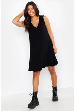 Womens Black Maternity V Neck Swing Dress
