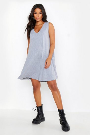 Womens Grey Maternity V Neck Swing Dress