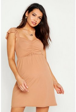 Camel Maternity Rib Strappy Sundress