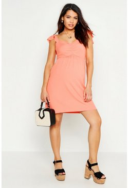 Coral Maternity Rib Strappy Sundress