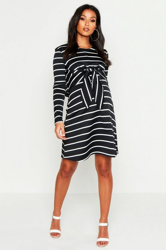 Womens Black Maternity Nursing Knot Front Stripe Dress