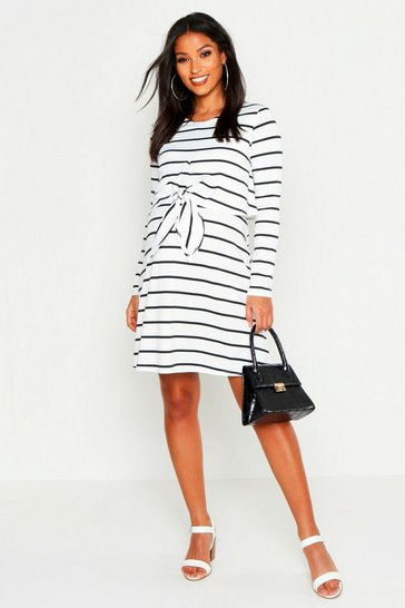 Womens White Maternity Nursing Knot Front Stripe Dress