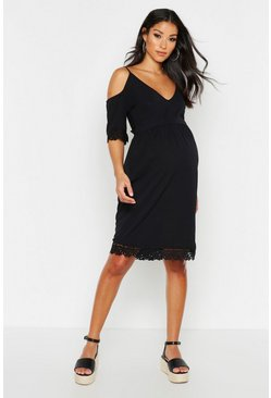Womens Black Maternity Crochet Trim Skater Dress