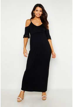 Womens Black Maternity Crochet Cold Shoulder Maxi Dress