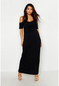 Womens Black Maternity Cold Shoulder Maxi Dress
