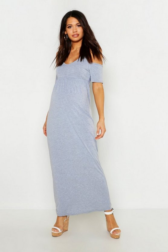 Womens Light grey Maternity Cold Shoulder Maxi Dress