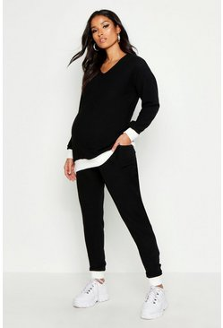 Womens Black Maternity Contrast Rib Super Soft Lounge Set