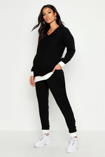 Black Maternity Contrast Rib Super Soft Lounge Set