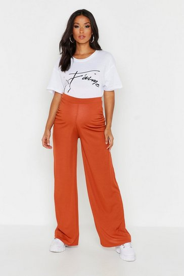 Womens Terracotta Maternity Rib Wide Leg Trouser