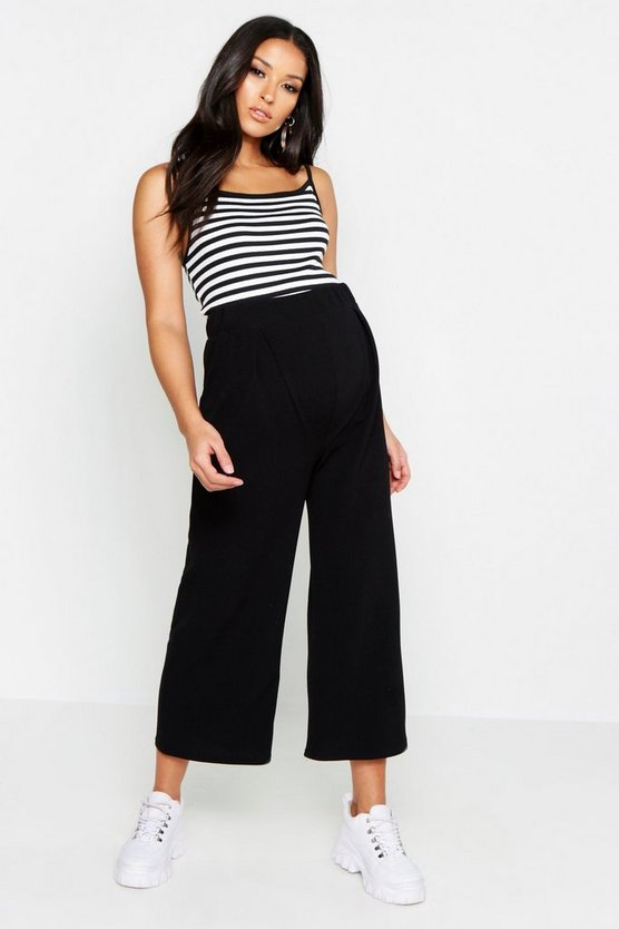 Womens Black Maternity Over The Bump Cullottes
