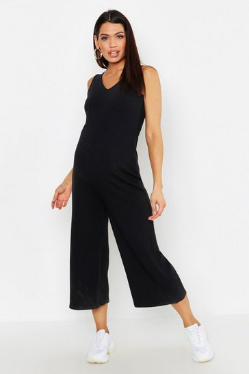 Womens Black Maternity Knitted Rib Lounge Jumpsuit