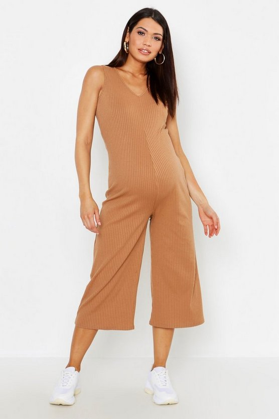 Womens Camel Maternity Knitted Rib Lounge Jumpsuit