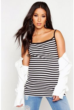 Womens Black Maternity Stripe Cami Top