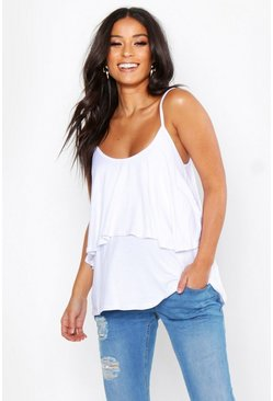 White Maternity Double Layer Ruffle Cami Top