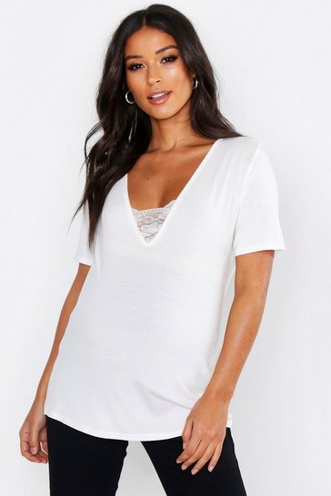 Womens White Maternity Lace Trim V Neck Tee