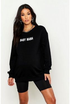 Womens Black Maternity 'Baby Mama' Slogan Sweat
