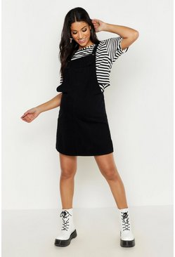 Womens Black Maternity Denim Pinafore Dress