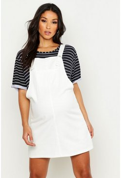 Womens Ecru Maternity Denim Pinafore Dress