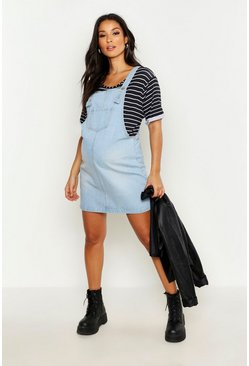 Womens Light blue Maternity Denim Pinafore Dress