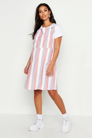 Womens Orange Maternity Stripe Linen Pinafore Dress