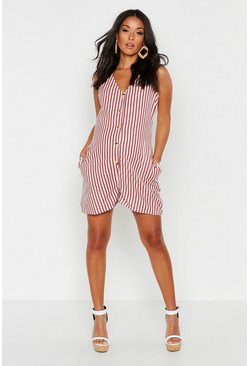 Womens Rust Maternity Button Front Stripe Woven Romper