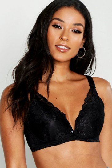 Womens Black Maternity Lace Nursing Bra