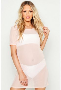 Womens Nude Maternity Oversized Beach T-Shirt Dress