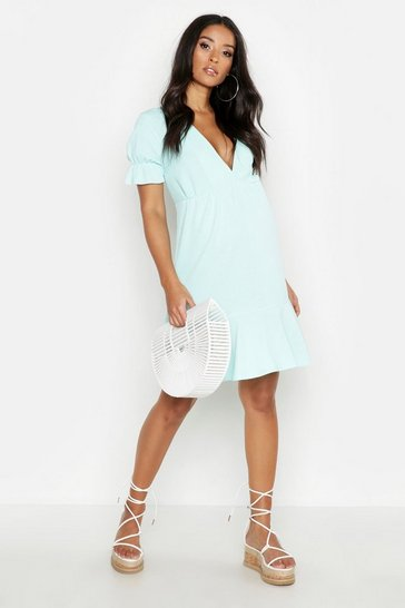 Womens Mint Maternity V Neck Peasent Sleeve Shift Dress