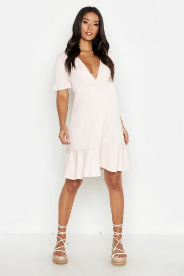 Womens Nude Maternity V Neck Peasent Sleeve Shift Dress