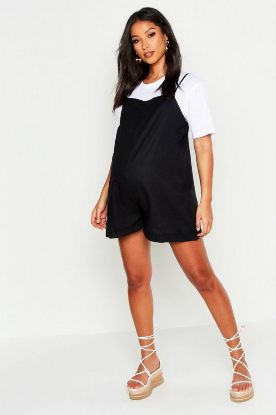 Womens Black Maternity Linen Look Strappy Romper