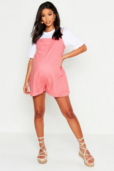 Womens Nude Maternity Linen Look Strappy Romper