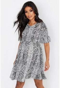 Blue Maternity Snake Print Smock Dress