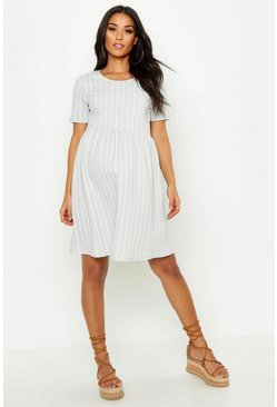 Womens Light grey Maternity Stripe Smock Dress