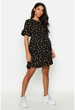 Dam Black Maternity Floral Frill Sleeve Smock Dress