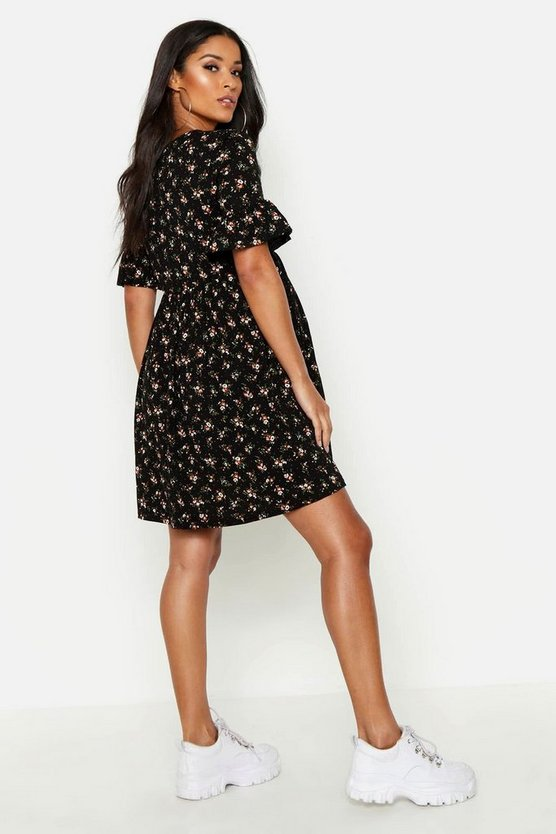 Maternity Floral Frill Sleeve Smock Dress