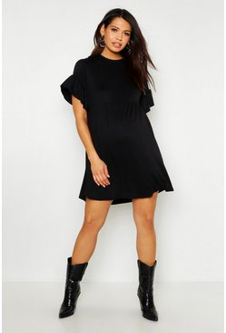 Womens Black Maternity Frill Sleeve Smock Dress