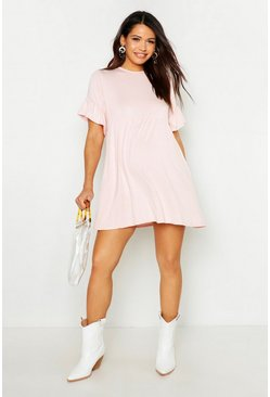 Blush Maternity Frill Sleeve Smock Dress