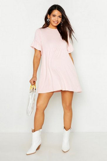 Womens Blush Maternity Frill Sleeve Smock Dress