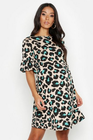 Womens Green Maternity Leopard Smock Dress