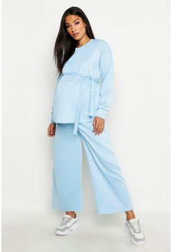 Womens Baby blue Maternity Tie Side Split Cullotte Sweat Set