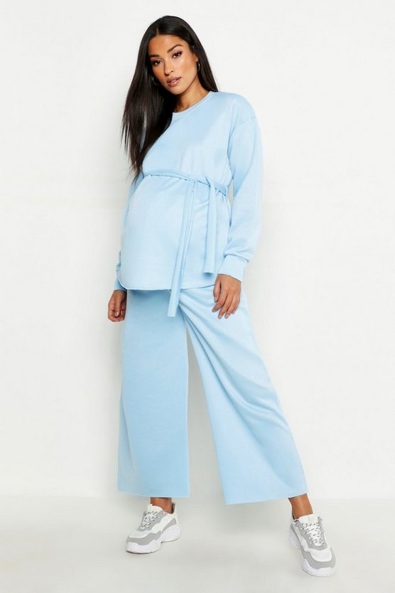 Maternity Tie Side Split Cullotte Sweat Set
