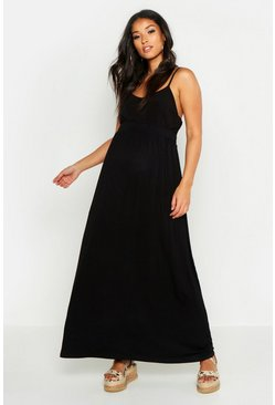 Black Maternity Basic Floor Sweeping Maxi Skirt