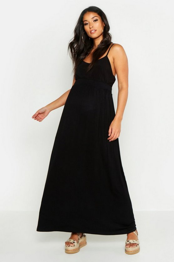 Womens Black Maternity Basic Floor Sweeping Maxi Skirt