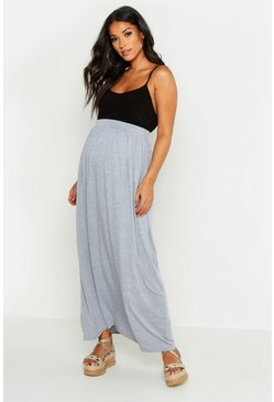 Light grey Maternity Basic Floor Sweeping Maxi Skirt