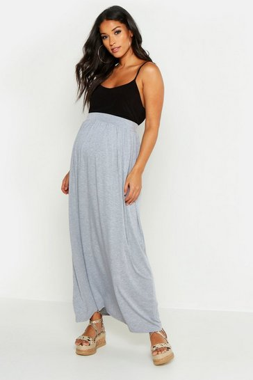 Womens Light grey Maternity Basic Floor Sweeping Maxi Skirt